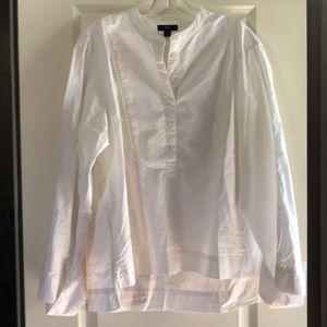 Crisp white tuxedo blouse
